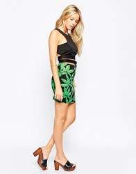 Motel Kimmy Mini Tube Skirt In Green Palm Leaf Green