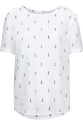 Equipment Riley Printed Washed Silk Top White