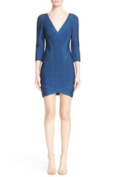 Women's Herve Leger V Neck Bandage Dress Blue