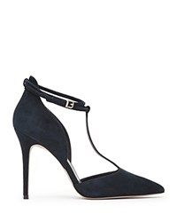 Reiss Cary Suede T Strap Pumps Night Navy