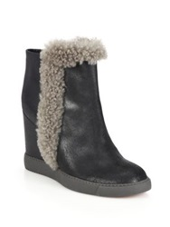 See By Chlo Zeppa 90 Blonde Shearling Accented Platform Wedge Booties Black