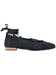 Paloma Barcelo Ankle Tie Ballerina Shoes Women Raffia Leather 40 Black