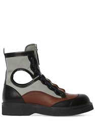 Lanvin 40Mm Leather And Canvas Zip Up Boots Grey Brown
