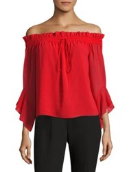 Scripted Bell Sleeve Off The Shoulder Blouse High Risk Red