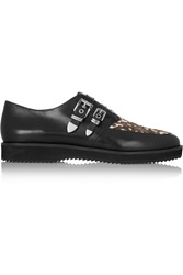 Michael Michael Kors Cassie Leather And Calf Hair Loafers Black