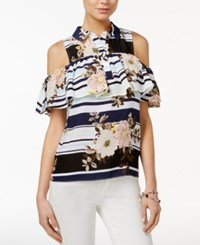 Guess Printed Off The Shoulder Flounce Shirt Fresh Floral Stripe True White