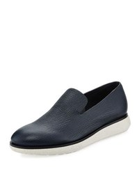 Giorgio Armani Creta Leather Slip On Shoe Blue