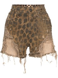 R 13 R13 Leopard Print Distressed Shorts Brown