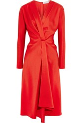 Victoria Beckham Wrap Effect Satin Crepe Midi Dress Red