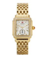 Michele Deco 16 Diamond Mother Of Pearl And 18K Goldplated Stainless Steel Bracelet Watch