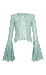 Luisa Beccaria Lace Blouse With Wide Sleeves Blue