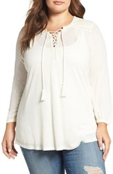 Lucky Brand Plus Size Women's Lace Front Peasant Top Marshmallow