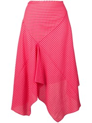 Paul Smith Ps Asymmetric Check Print Skirt Red