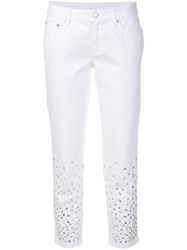 Michael Michael Kors Embellished Cropped Skinny Jeans White