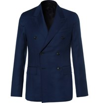 Caruso Blue Butterfly Slim Fit Double Breasted Wool Hopsack Blazer Navy