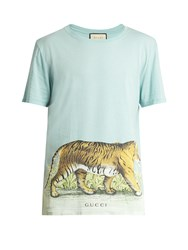 Gucci Walking Tiger Print Short Sleeved Cotton T Shirt Light Blue