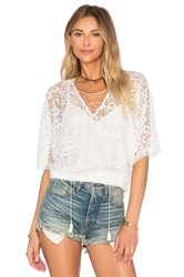 Twelfth St. By Cynthia Vincent Geo Lace Blousant Top White