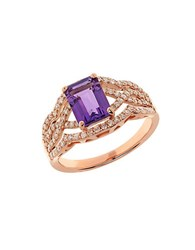 Lord And Taylor Amethyst Diamond 14K Rose Gold Ring