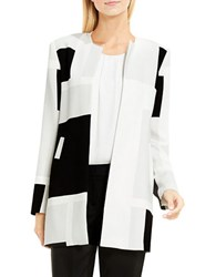 Vince Camuto Open Front Abstract Grid Printed Coat Glacier