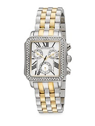 Saks Fifth Avenue Two Tone Stainless Steel Embellished Square Bezel Watch Silver Gold