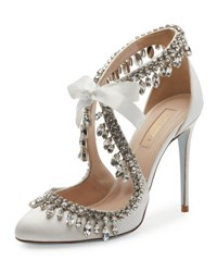 Aquazzura Stella Jeweled Bridal 105Mm Pump White