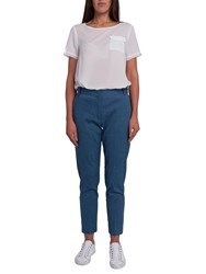French Connection Indi Bour Linen Tapered Trousers Indigo