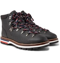Moncler Peak Pebble Grain Leather Hiking Boots Black