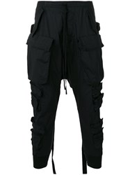 Unravel Project Cargo Pocket Drop Crotch Trousers Black