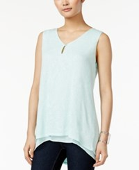 Styleandco. Style And Co. Sleeveless Keyhole High Low Top Only At Macy's Mystic Aqua