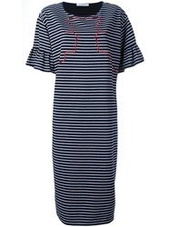 Vivetta Embroidered Striped Dress Blue