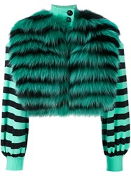 Fendi Striped Fur Jacket Women Silk Fox Fur Lamb Skin Polyamide 40 Green