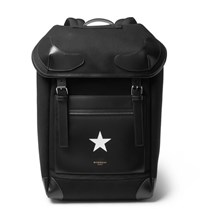 Givenchy Rider Leather Trimmed Twill Backpack Black