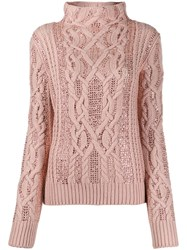Ermanno Scervino Embellished Cable Knit Sweater Pink