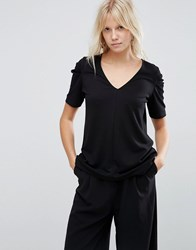 Asos Top With Ruched Sleeve Detail Black