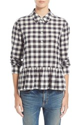 Women's The Great 'The Ruffle Oxford' Plaid Cotton And Linen Shirt