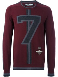 Dolce And Gabbana '7' Jumper Red