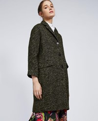 Aspesi Woven Alpaca Blend Coat Green