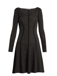 Alexander Mcqueen Speckled Flared Skirt Ribbed Knit Dress Black