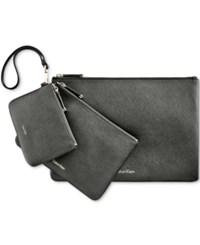 Calvin Klein Saffiano Assorted Pouches Black Gold