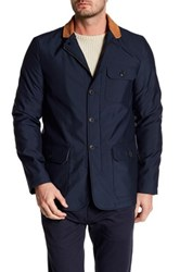 Bugatchi Contrast Collar Long Sleeve Jacket Blue