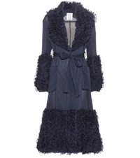 Rosie Assoulin Morel Ruffled Cotton And Silk Coat Blue