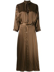 Nina Ricci Striped Long Shirt Dress Women Silk 40 Nude Neutrals