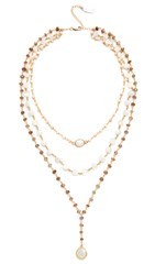 Ela Rae Three In One Layer Midi Necklace Pink Opal Moonstone Brown
