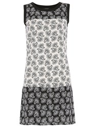 Pussycat Paisley Print In Contrast Shift Dress Black