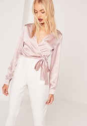 Missguided Long Sleeve Satin Wrap Front Crop Pink Mauve