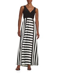 Betsy And Adam Striped V Neck Gown Black White