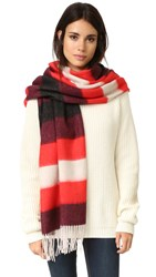 Rag And Bone Brushed Blanket Stripe Scarf Fiery Red