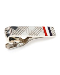 Thom Browne Check Tie Bar With Stripes Silver