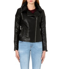 Warehouse Quilted Faux Leather Jacket Black