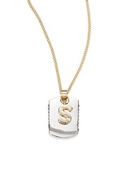 Bcbgeneration Two Tone Dog Tag Initial Pendant S Silver Gold